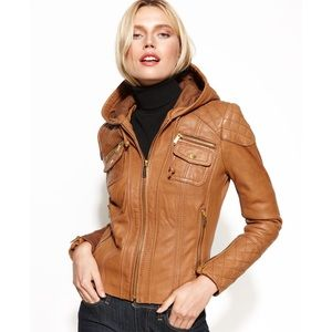 Micheal Kors brown leather jacket